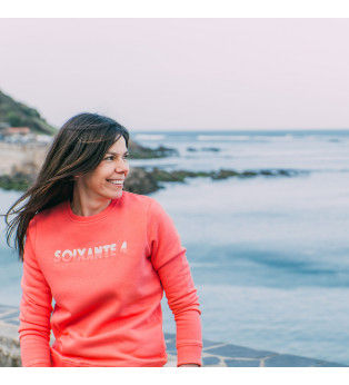 Sweat femme BICOLO BOUCLETTE orange corail
